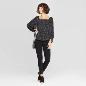 NWT A NEW DAY Long Sleeve Floral Square Neck Top L